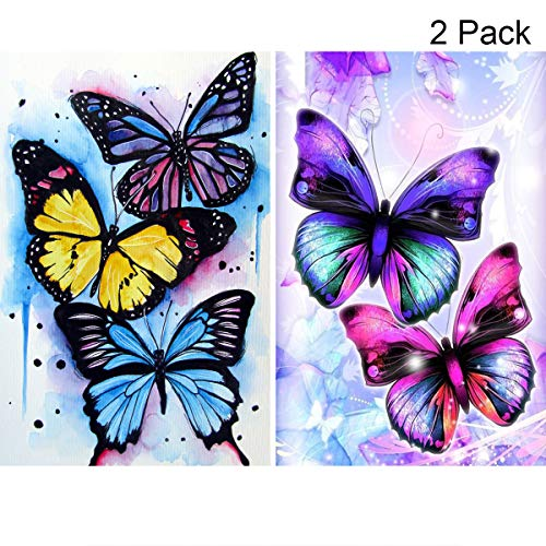 2 Pack 5D Full Drill Diamond Painting Kit, KISSBUTY DIY Diamond Rhinestone Painting Kits for Adults and Beginner Embroidery Arts Craft Home Decor, 15.8 X 11.8 Inch (Butterfly Diamond Painting Kits)