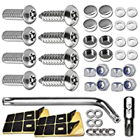 Black Cap Covers BGGTMO License Plate Screws Anti Theft- Security Car Tag Holder Lock Screws Nuts Bulk for Front//Rear Frame 6mm Stainless Steel Anti Rust and Tamper Proof Mechanical Bolts Fastener