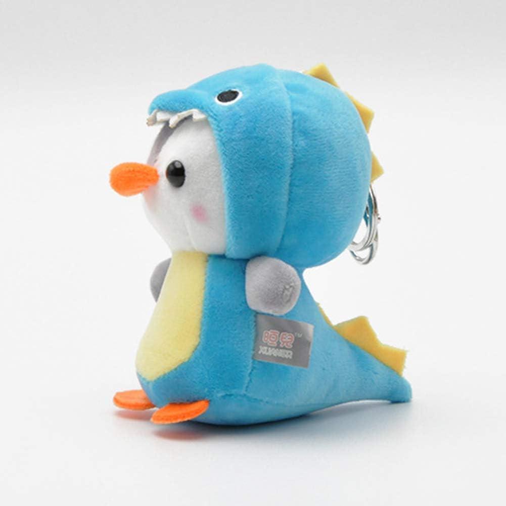 Eamoney Cute Penguin Bee Keychain Plush Doll Keyring Stuffed Animal Key Holder Handbag Hanging Pendant Pink