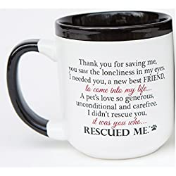Rescued Thank You For Saving Me Dog Paw 16 Oz Ceramic Mug