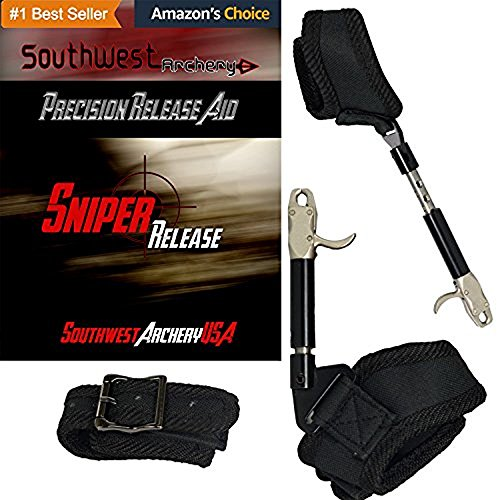 Sniper Adjustable Archery Buckle Release; for Compound Bows, Ambidextrous Adult & Youth Sizes, 360 Swivel with Dual Caliper Head, Adjustable Trigger Tension, Tools Included: Adult Black