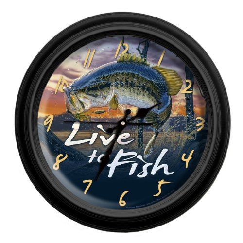 Reflective Art Live to Fish Classic Wall Clock, 16-Inch Fish Animal Wall Clock