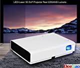 DLP LED Laser Projector, Deeirao Home Theater 3D Projector Support 1080P Full HD Android4.4 Quad Core 6000LED Lumens Hdmi USB3.0 WLAN Bluetooth4.0 with Portable Bag PS4 Xbox360 White MK65X