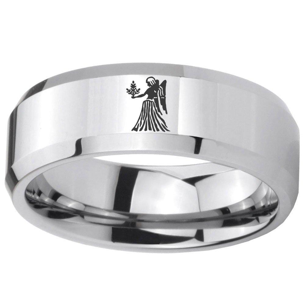 8MM Tungsten Carbide Virgo Zodiac Horoscope Beveled Edges Ring Size 11