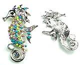 Multi-Color Austrian Rhinestone & Beads Sea Horse Design Silver-Tone Brooch Pin