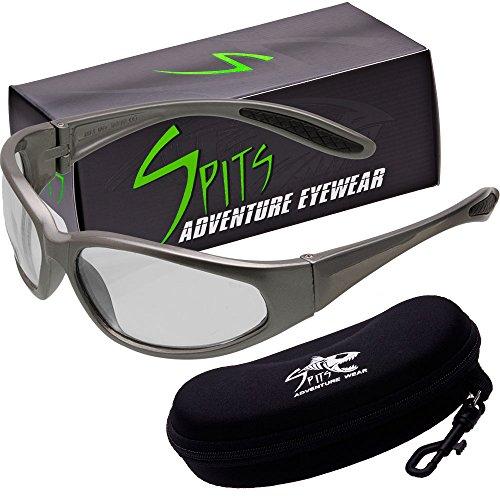 - Hercules Photochromic Light Adjusting Safety Glasses - Gray Frame - Smoke/Clear Lenses