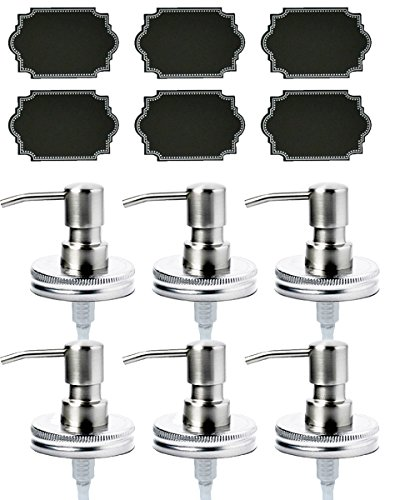 Price comparison product image Firefly Craft Stainless Steel Lotion and Soap Pump Dispensers for Mason Jars with Chalkboard Labels, Pack of 6