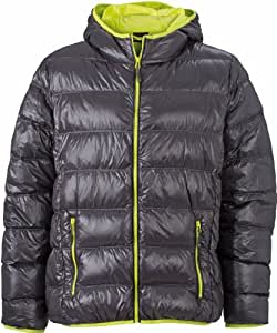 James & Nicholson JN1060 Mens Down Puffer Jacket carbon/acid yellow Size L
