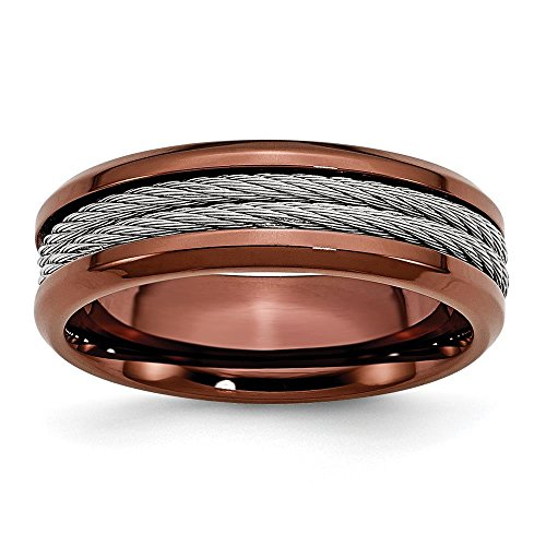 Stainless Steel Ridged Edge Chocolate IP-plated w/Cable 7mm Wedding Ring Band by Chisel Size 12 (Edge Ridged Stainless Steel)