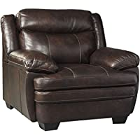 Ashley Hannalore Collection 1530420 43 Chair with Buttery Soft Cushions Split Back Design Jumbo Stitching Pillow Top Arms and Leather Upholstery in Cafe