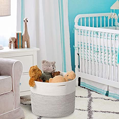 Amazon.com : Goodpick Natural Cotton Rope Basket - Baby Laundry Hamper- Nursery Bin Organizer Kids Blanket/Throw Basket/Baby Toy Woven Storage Basket, ...