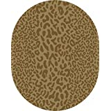 8' x 10' Les Animaux Olive Green and Bronze Leopard Hand Tufted Wool Oval Area Throw Rug