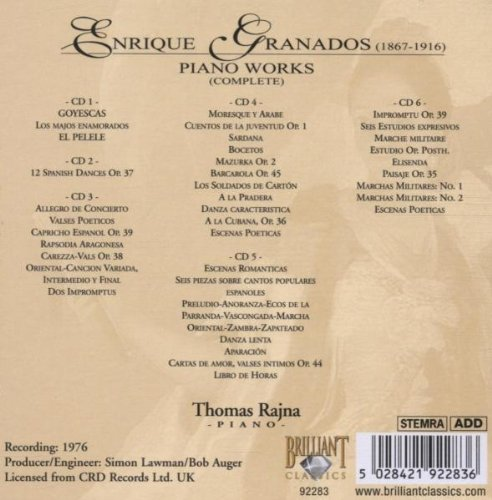 Enrique Granados, Thomas Rajna - Enrique Granados: Piano Works (Complete) - Thomas Rajna, Piano - Amazon.com Music