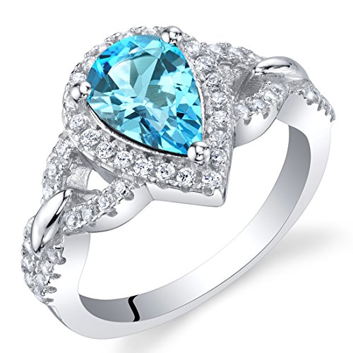 Cut Faceted Pear (Swiss Blue Topaz Sterling Silver Halo Crest Ring Size 6)