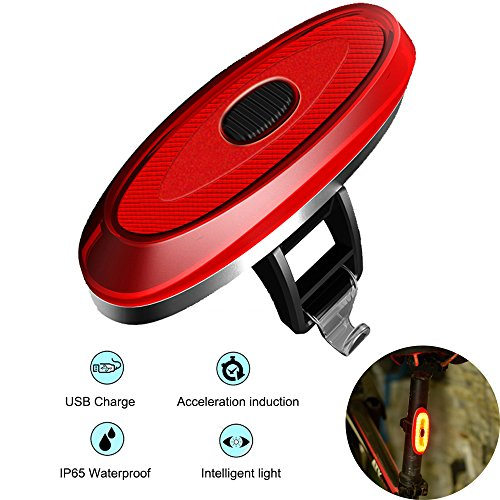 G Keni Bicycle Taillights USB Rechargeable Smart Automatic LED Bike Tail light Waterproof Warning Wireless Bicycle Night Light Fits on any Road Bikes,Helmets, Cycling Safety Flashlight