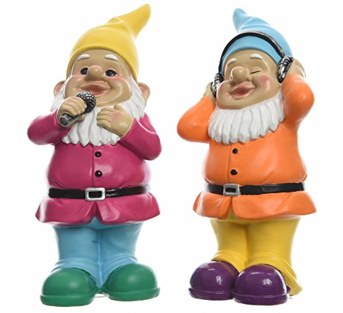 Karaoke and DJ Garden Gnomes Twin Pack Unique Novelty Gift Direct Global Trading