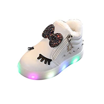 Girls Bowknot Crystal Led Luminous Boots Sport Sneaker Shoes White