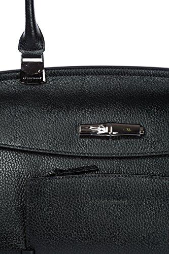 Longchamp borsa donna a spalla shopping in pelle nuova nero