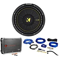 KICKER 44CWCS104 CompC 10 500 Watt SVC 4-Ohm Car Subwoofer+Amplifier+Amp Kit