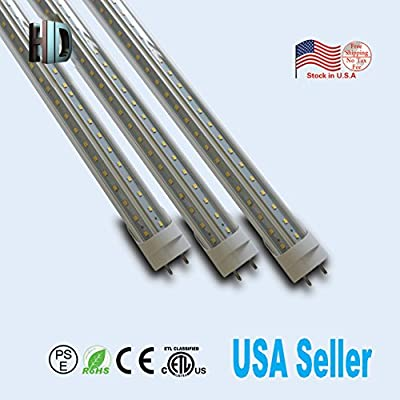 US stock 6 Pack T8 LED Light Tube with ETL V shape Double rows 6ft 40W G13 cap 6500K Clear cover white daylight ballast bypass 6 foot Work Shop Lighting Replacement for garage
