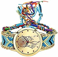 MINILUJIA Bohemia Adjustable Dreamcatcher Watch Dream Catcher Handmade Rope Bracelet Women Wrist Watch with Free Colorful Rope Bracelet