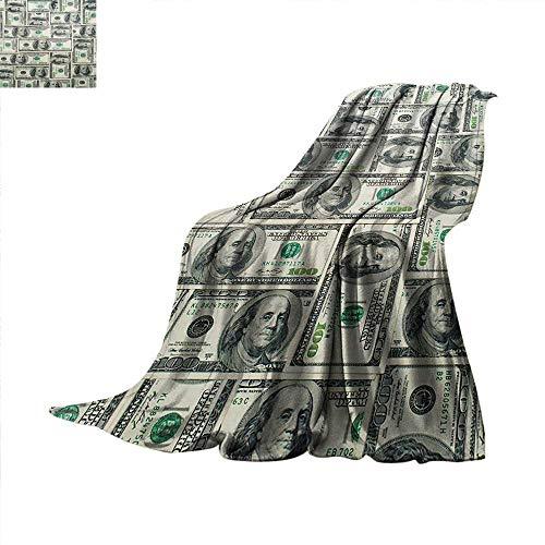 Money Weave Pattern Blanket Dollar Bills of United States Federal Reserve with The Portrait of Ben Franklin Summer Quilt Comforter 60