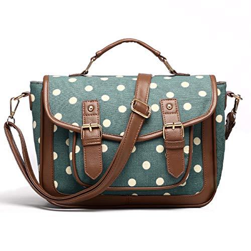 Women Canvas Handbags Vintage Polka Dots Satchel Bag Shoulder Messenger Bag