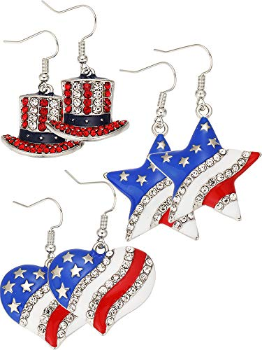 3 Pairs Patriotic Red White Blue American USA Flag Earrings Crystal Dangle Earrings Star Heart Hat Shape Dangle Drop Earrings for 4th of July Independence Day Gift