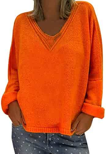 7fe7af775bd47 Hanican Womens Solid Color Tops V Neck Pullover Knitted Sweater Loose Blouse