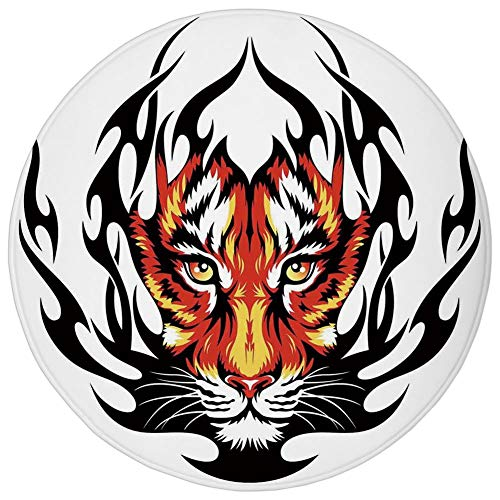 Round Rug Mat Carpet,Tattoo Decor,Jungles Prince Tigers Head in Black Flames Frame looking with Cat Eyes,Black and Orange,Flannel Microfiber Non-slip Soft Absorbent,for Kitchen Floor Bathroom]()