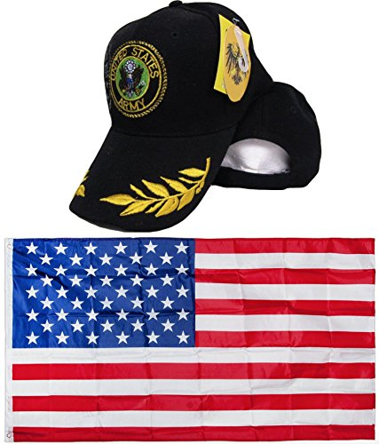 Army Active Duty Shadow Eggs Feather Feathers Seal Black Embroidered Hat Cap & USA Flag 3x5 Super Polyester Nylon 3'x5' Banner Grommets Double Stitched Premium Quality (Super Shadow Duty)