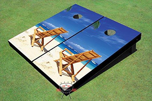 ビーチ椅子に向かって左テーマCorn穴ボードCornhole Game Set B00O56SUJ8