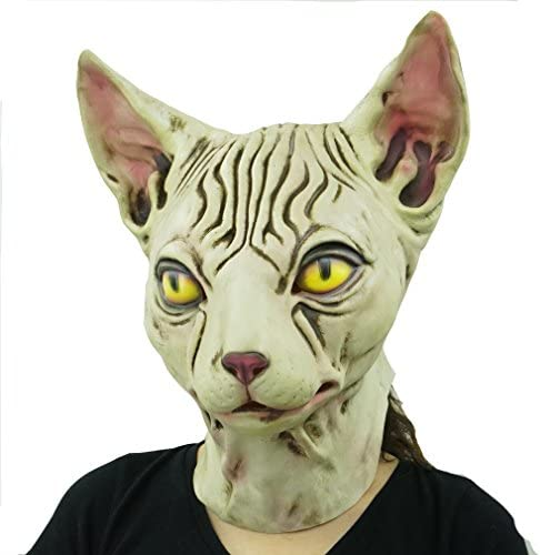 Hairless cat Latex Mask Funny Animal Hood Halloween Costume Party Decorations 18
