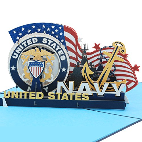 - Sweet Land of Liberty Brave Soldiers of U.S. Army - 3D Pop Up Greeting Card - Father's Day Gift Birthday Card, Graduation Card Anniversary Card (Navy) By AITpop