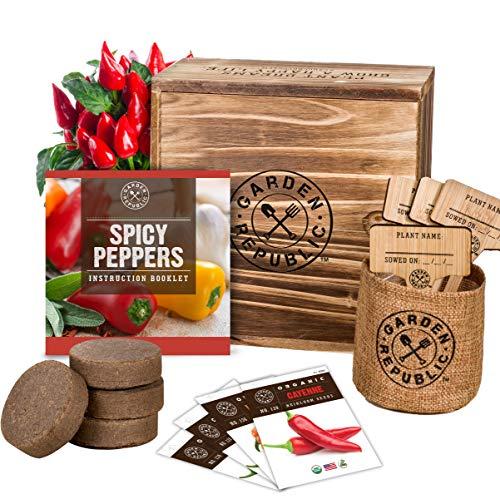 Indoor Garden Pepper Seed Starter Kit – 4 Non GMO Hot Peppers Seeds for Planting, Pots, Planter Box, Scissor, Plant…
