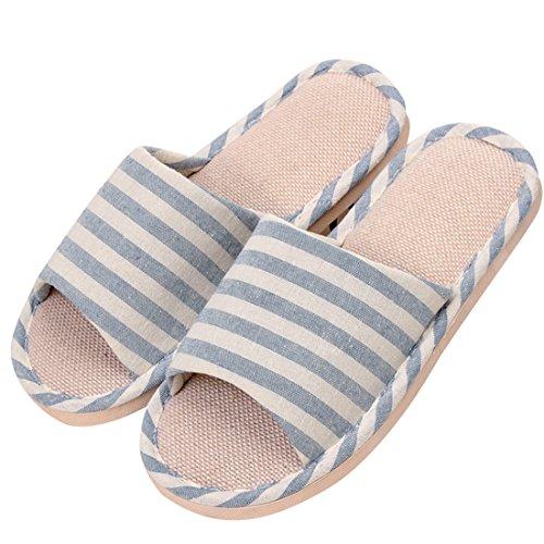 Winzik Women Men House Slippers Striped Anti-Slip Open Toe Cozy Cotton Flax Couple Sandals Home Indoor Shoes Blue BRgKX0ms