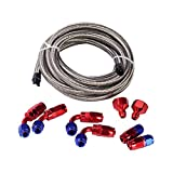 stainless steel fuel line - Evilenergy 10Ft 6AN Fuel Cell Gas Tank Stainless Steel Oil Hose Line+ 6AN Fittings Kit …