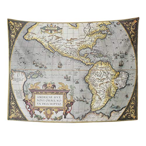 Tarolo Decor Wall Tapestry America Old Map from Theatrum Orbis Terrarum The First Atlas in World Created by Abraham Ortelius Published 60 x 50 Inches Wall Hanging Picnic for Bedroom Living Room Dorm