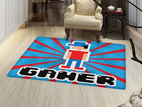 Video Games Floor Mat for Kids Blue and Red Striped Boom Beams Retro 90s Toys Boy with Cap Door Mat Increase Vermilion Blue White Black