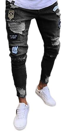 Pizoff Vaquero de Hombre Pantalón Ancho Jeans Harem
