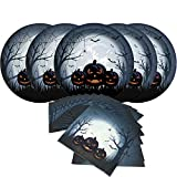 Halloween Angry Pumpkin Paper Party Pack-Serve 16-16 Count 10 Inches Big Dinner Plates, 16 Count Napkins Paper