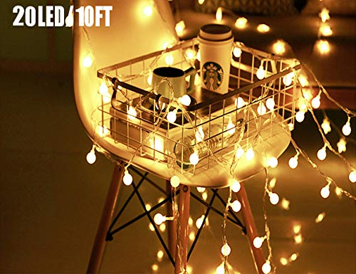 20 LED Globe String Lights, Ball Christmas Lights, Indoor / Outdoor Decorative Light, USB Powered, 10 Ft, Warm White Light - for Patio Garden Party Xmas Tree Wedding Decoration -