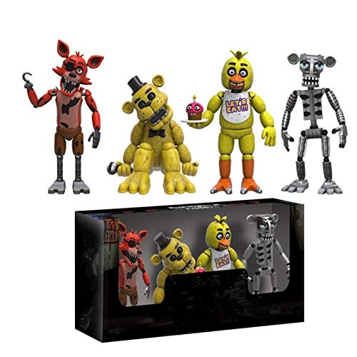 PAPCOOL Set 4 FNAF Action Figures 2 inch Hot Toys Foxy Bonnie Freddy Bear Mini Small Cute PVC Figure Sister Location Toy Christmas Halloween Collectable Gift Gifts Collectible Collectibles for -