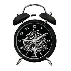 Innolife 4 Quiet Non-ticking Silent Quartz Analog Retro Vintage Bedside Twin Bell Alarm Clock With Loud Alarm and Nightlight (Wishing Tree)