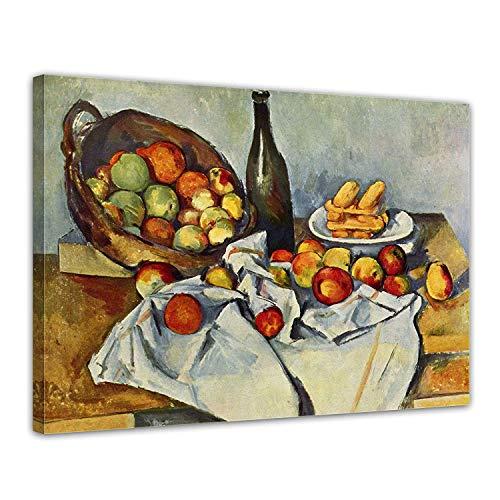 LVLUOYE Wall Art Canvas Decor - Canvas Wall Painting - Copy Famous Old Master Oil Painting - Hand Painted Mural - Living Room Stretched Canvas - Paul Cézanne Still Life Bottle Apple Basket,80x60cm ()