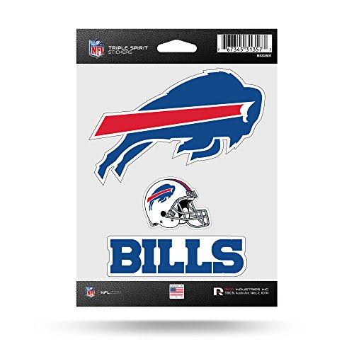Rico Industries NFL Buffalo Bills Die Cut 3-Piece Triple Spirit Sticker Sheet