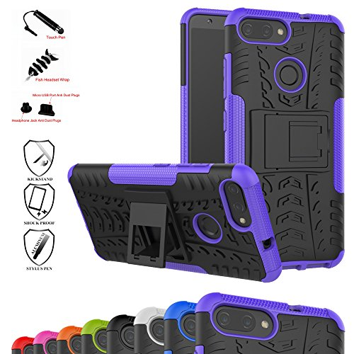 Zenfone Max Plus Case,Mama Mouth Shockproof Heavy Duty Combo Hybrid Rugged Dual Layer Grip Cover with Kickstand for Asus Zenfone Max Plus (M1) ZB570TL (with 4 in 1 Packaged),Purple