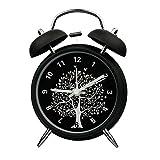 "Innolife 4"" Quiet Non-ticking Silent Quartz Analog Retro Vintage bedside Twin Bell Alarm Clock With Loud Alarm and Nightlight (Wishing Tree)"