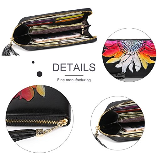 Womens Zipper Clip Around Sunflower Card Women Wallet Leather Purse Case Money Wallets for Holder Floral Long Multicolor APHISONUK Pq8dSwP