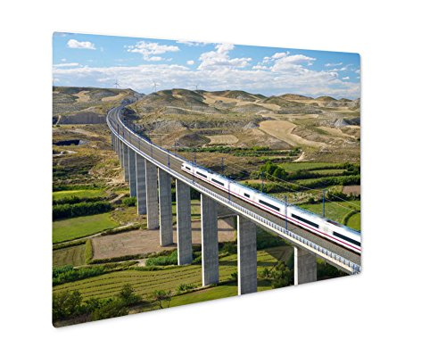 Ashley Giclee Metal Panel Print, View Of A Highspeed Train Crossing A Viaduct In Roden Zaragoza Aragon Spain Ave, 16x20 by Ashley Giclee